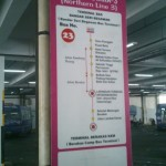 At BSB bus station - sign shows bus route information for Route 23, Northern Line, from Tamu Kianggeh to Berakas Camp Bus Terminal