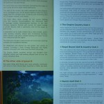 Shows part of 2 pages within brochure, which mostly describes the features and benefits Empire Hotel, Brunei rainforests, and various golf clubs in Brunei