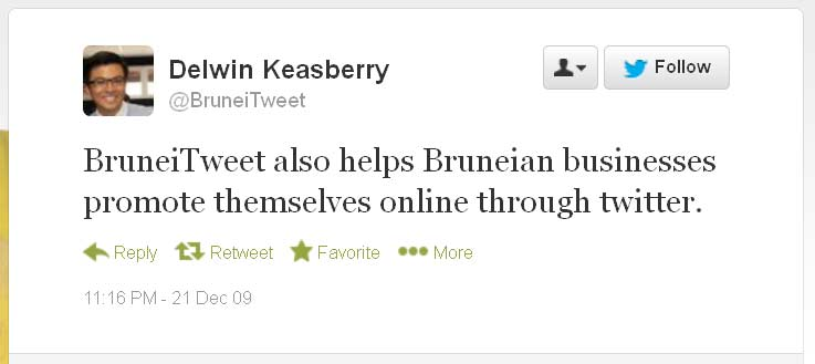 Brunei Tweet December 2009