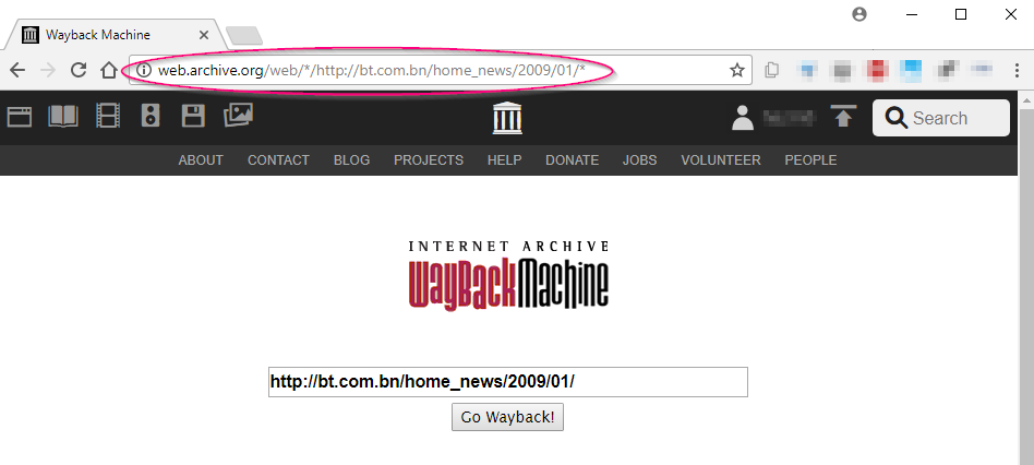 Screenshot showing the URL we manually created, now pasted into a browser bar
